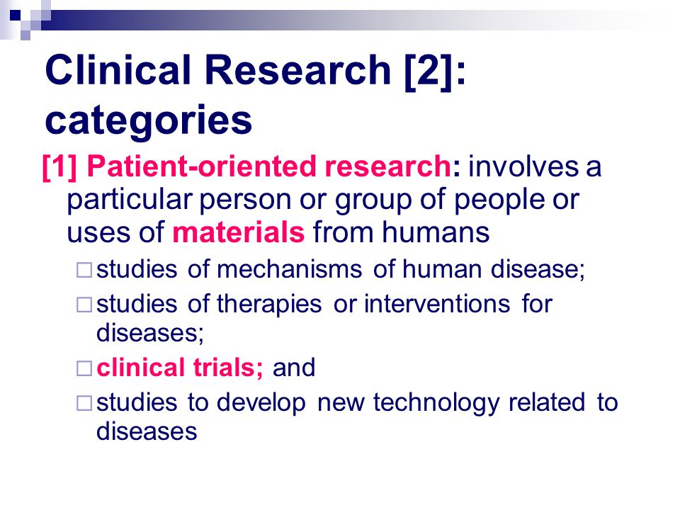 Clinical Research [2]: categories